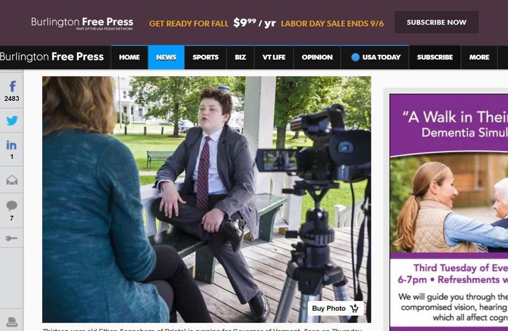 索恩本接受訪問,架勢十足。 圖/翻攝自Burlington Free Press...
