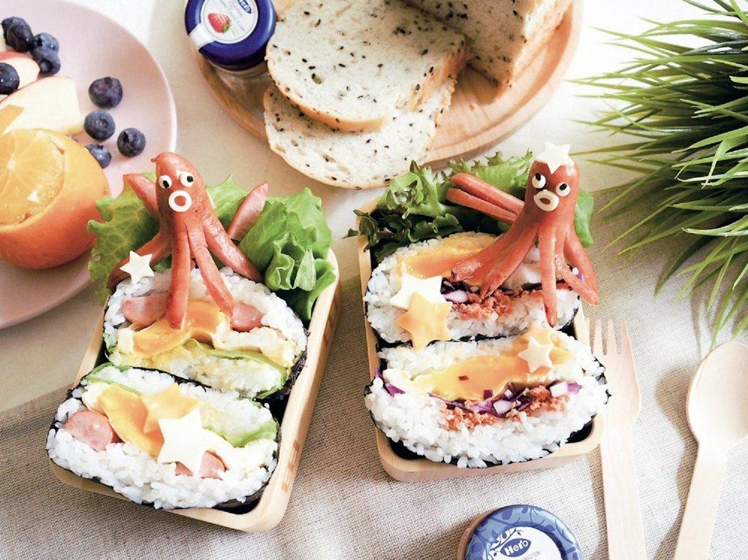 小章魚夾心飯糰 圖文/摘自橘子文化出版 《超萌造型兒童餐:50道孩子最喜歡的可愛...