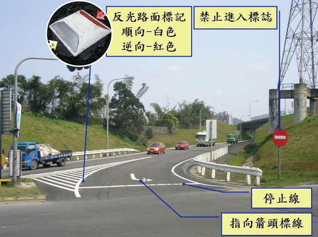 有許多標誌幫助用路人辨識是否逆向。 記者陳雕文/翻攝