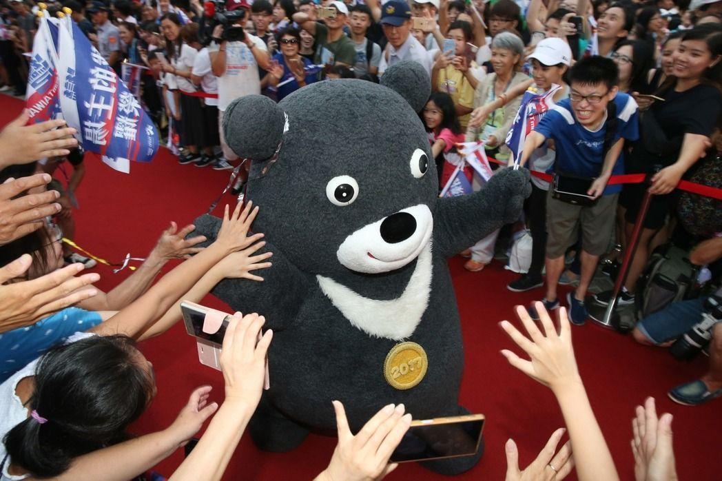 台北世大運吉祥物熊讚。 報系資料照片