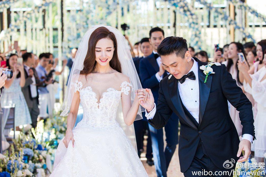 朱孝天去年九月份在峇里島舉辦婚禮。 圖/擷自韓雯雯微博。