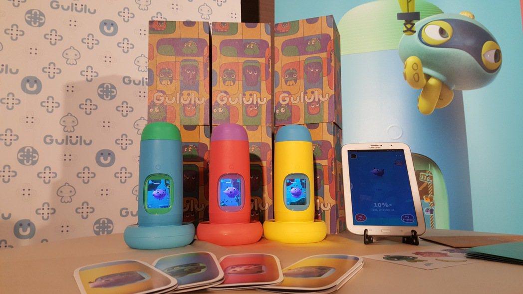 「Gululu水精靈」結合電子寵物和闖關遊戲等虛擬設計,孩子能透過水壺上的小銀幕...