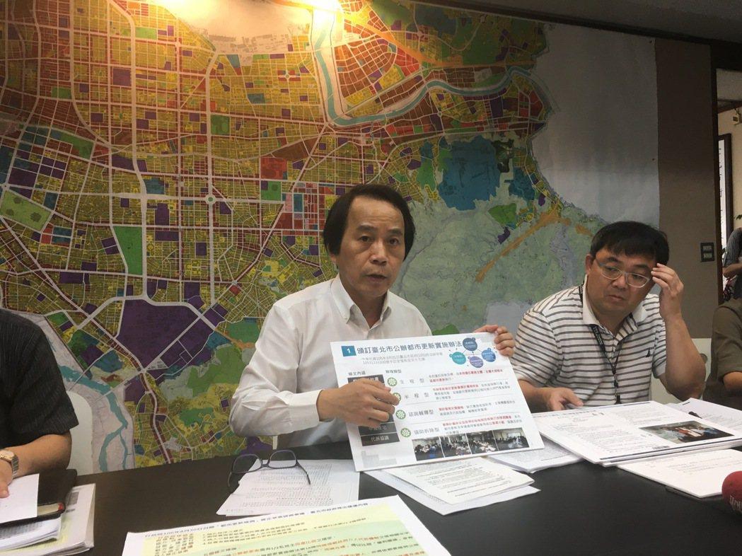 北市副市長林欽榮(左)昨針對正進行的都更條例修法,質疑「實施公權力的是政府,怎會...
