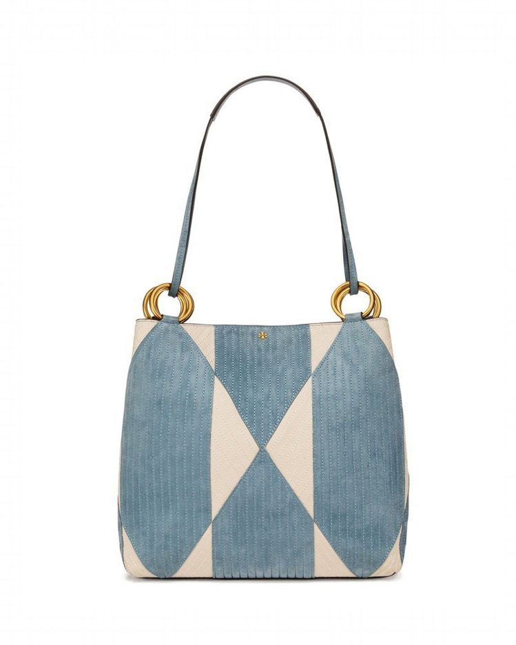 藍色千鳥格托特包,售價未定。圖/Tory Burch提供