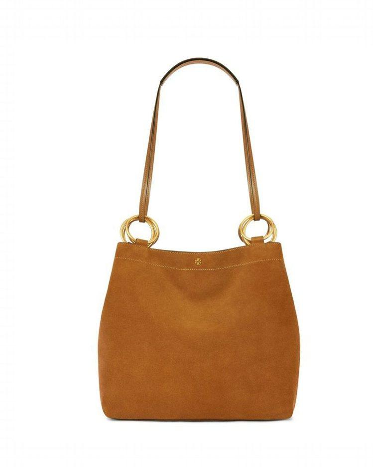 深褐色麂皮托特包,售價未定。圖/Tory Burch提供