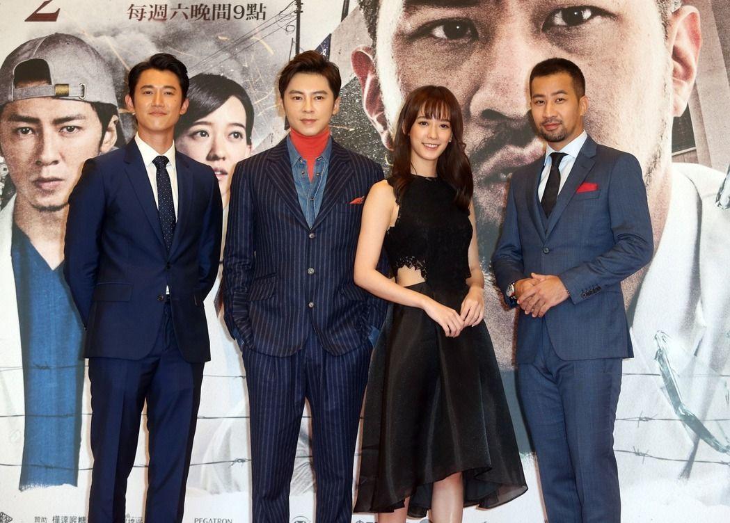 黃健瑋(右起)、孟耿如、李國毅、吳慷仁出席「麻醉風暴2」首映。記者曾吉松/攝影