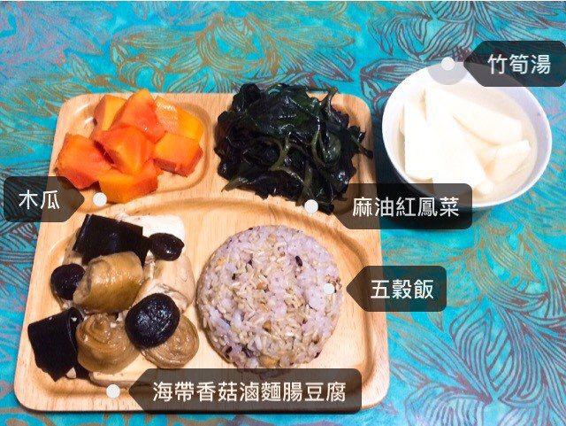 營養師涂蒂雅自己準備營養均衡的素食餐,利用麵腸及豆腐增加蛋白質攝取。 圖/涂蒂雅...