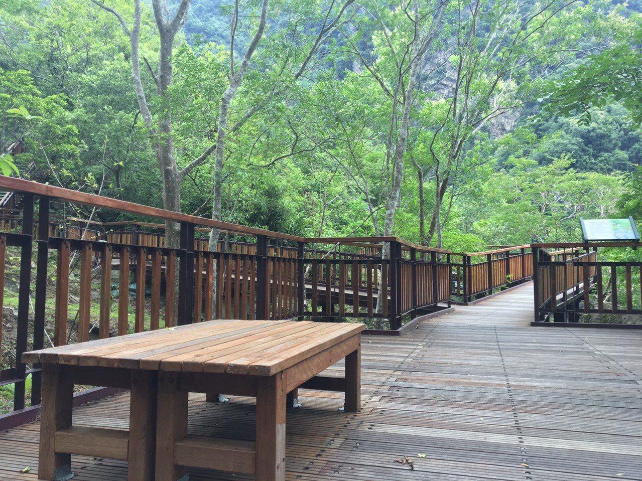 太魯閣風景區的環流丘步道設置休息座椅,遊客可以欣賞四面環山的雲霧與翠綠山林。 圖...