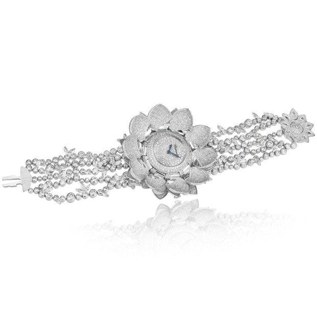 蕭邦'Blanc Lotus白色蓮花高級珠寶腕表,18K白金與鉑金鑲嵌25.66...