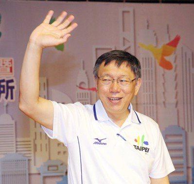 台北市長柯文哲,靠多吃蔬食和爬樓梯維持體態。 記者徐兆玄/攝影