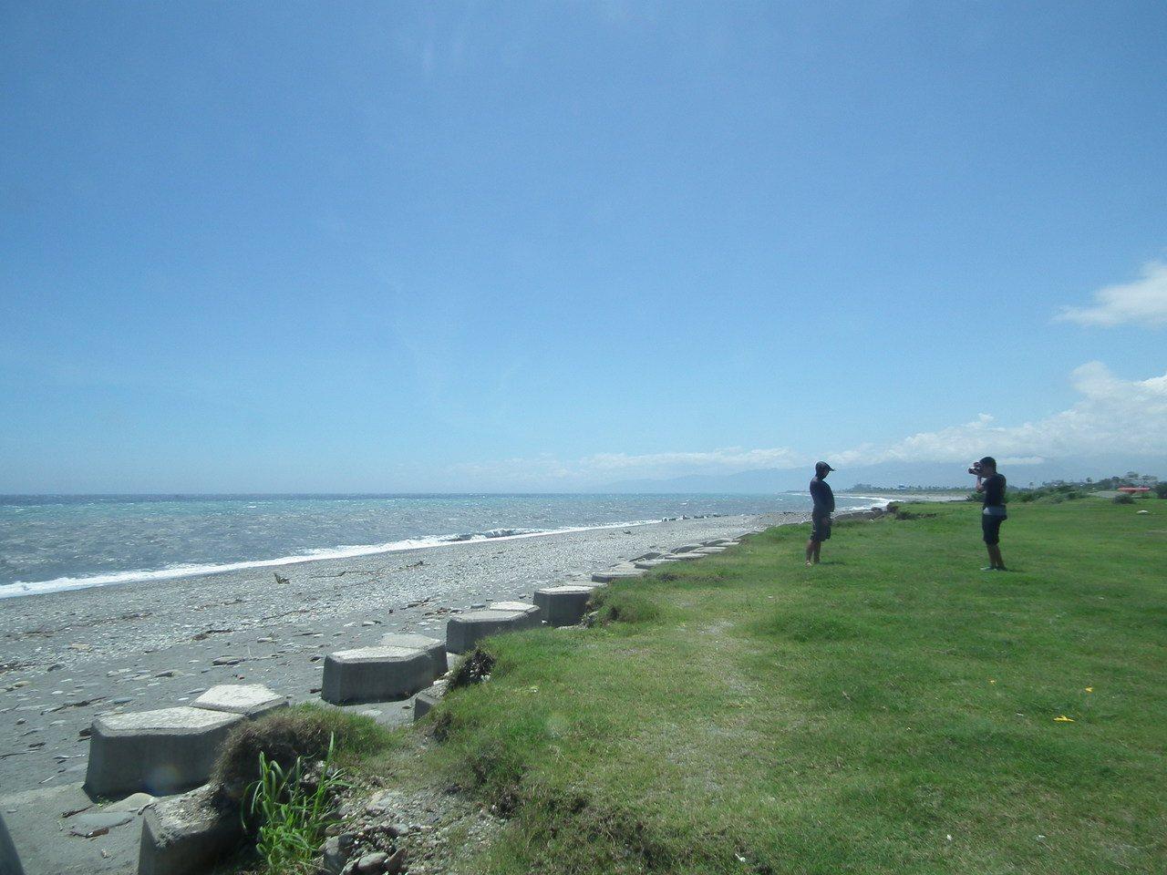 看到oBike單車出現沙灘上,遊客當背景拍照留念。記者尤聰光/攝影