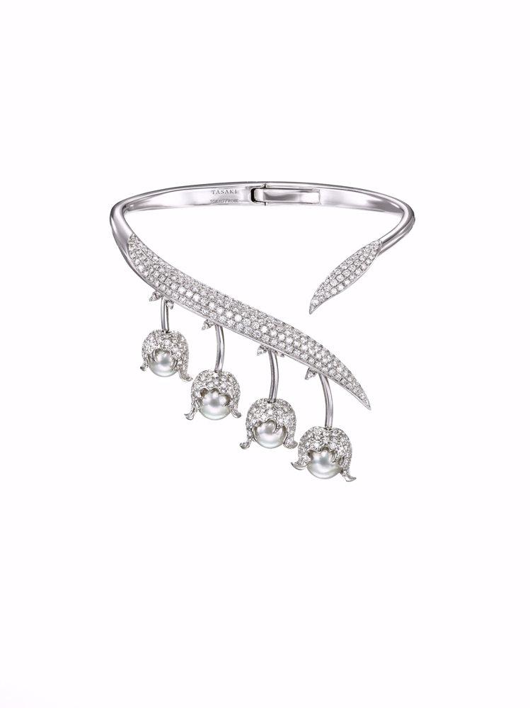 TASAKI chorus valley 18K白金鑽石珍珠手環,218萬元。圖...