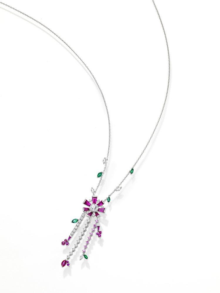 TASAKI opulence紅寶石彩寶項鍊,鉑金鑲嵌紅寶石、祖母綠和粉紅剛玉,...