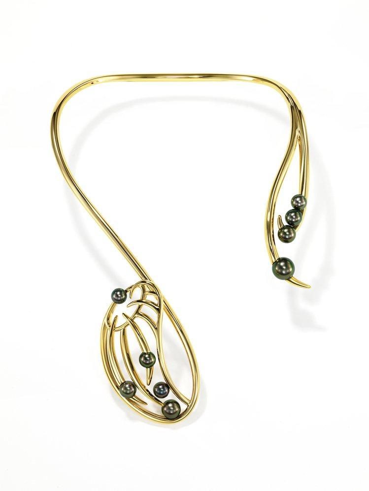 TASAKI nepenthes 南洋黑珍珠黃K金項鍊,329萬元。圖/TASA...
