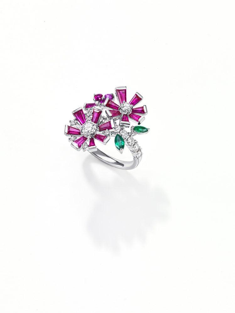 TASAKI opulence 紅寶石彩寶戒指,鉑金鑲嵌紅寶石、祖母綠和粉紅剛玉...