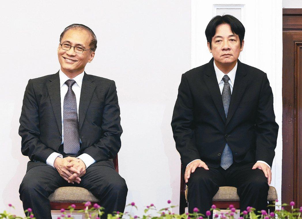 新任行政院長賴清德(右)與卸任行政院長林全(左)。 報系資料照