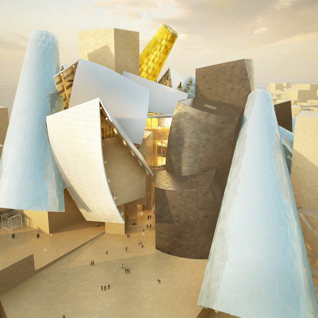 由美國建築師法蘭克.蓋瑞(Frank Gehry)設計的阿布達比古根漢美術館是具...