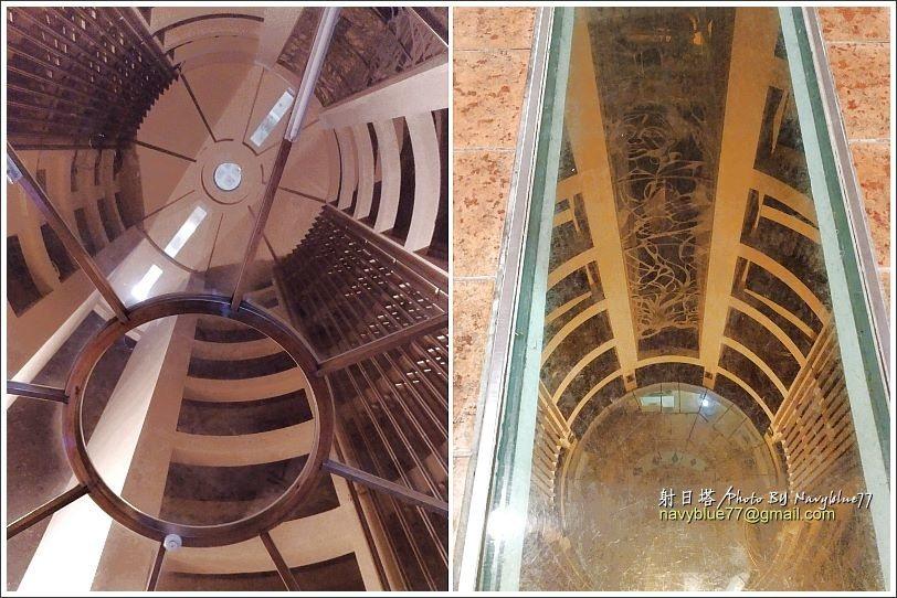 ↑左圖:由射日塔2樓抬頭向上望40公尺高的一線天。右圖:由射日塔10樓的一線天透...