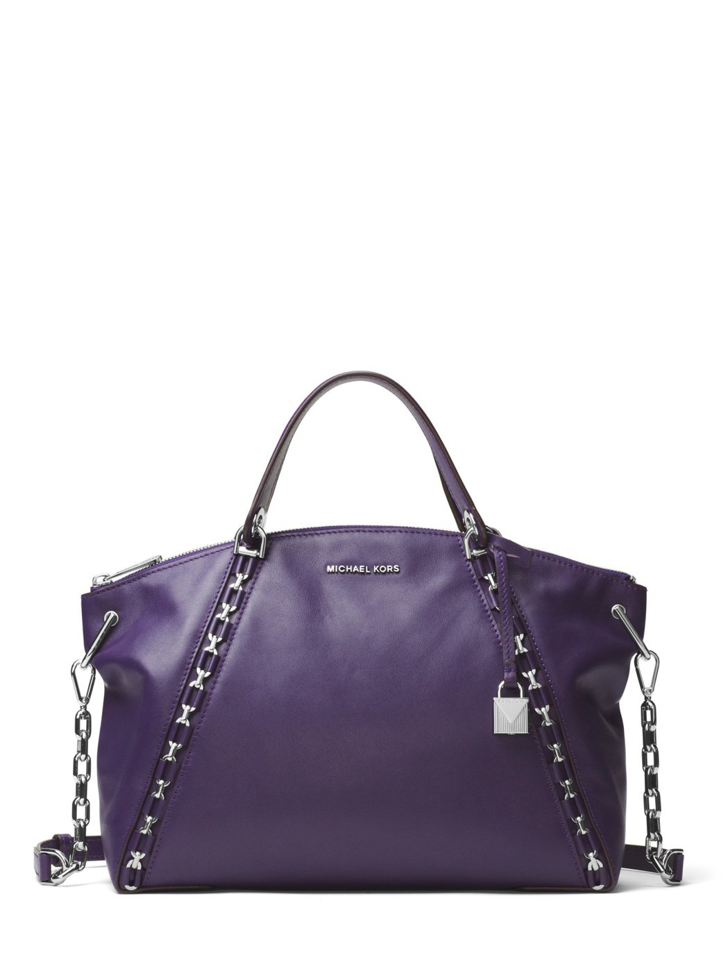 SADIE鳶尾紫提包,售價21,700元。圖/MICHAEL KORS提供