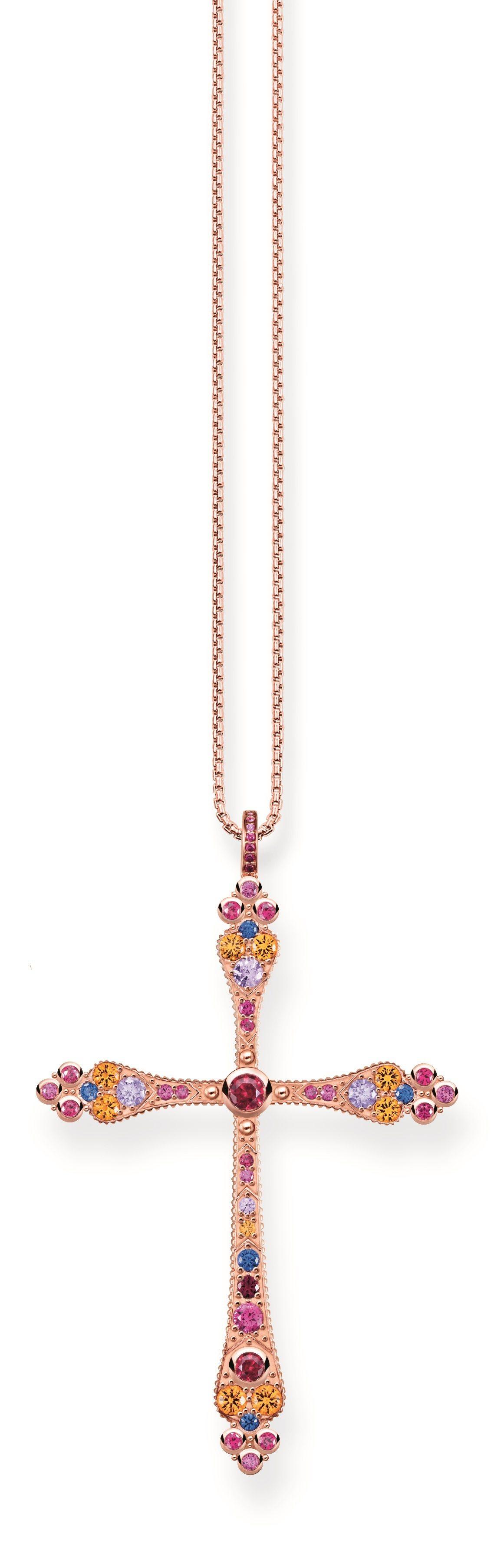玫瑰金純銀三色彩寶十字架墜飾,17,800元。圖/THOMAS SABO提供