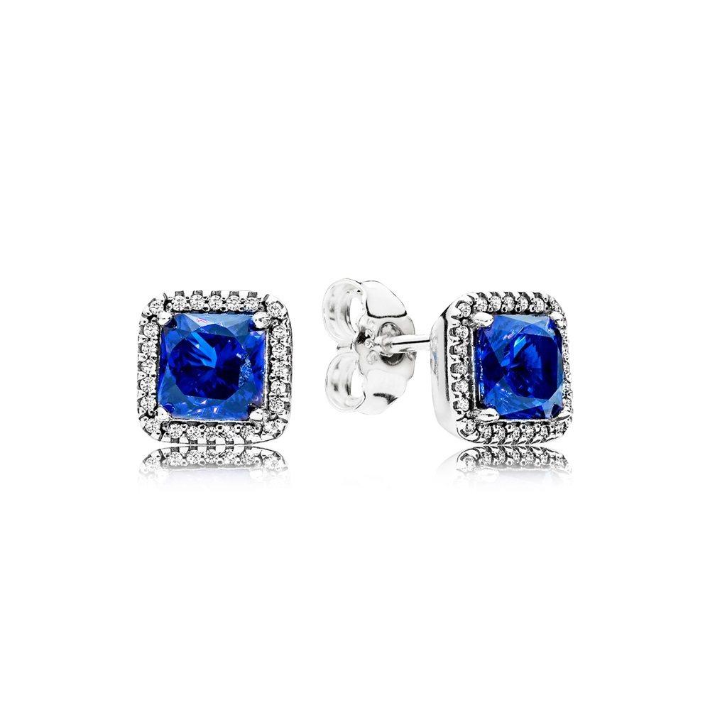 永恆優雅(藍)925銀鋯石耳環,2,980元。圖/PANDORA提供