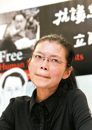 李明哲之妻李淨瑜昨天上午在人權團體陪同下,舉行大陸行前記者會。 記者林俊良/攝影
