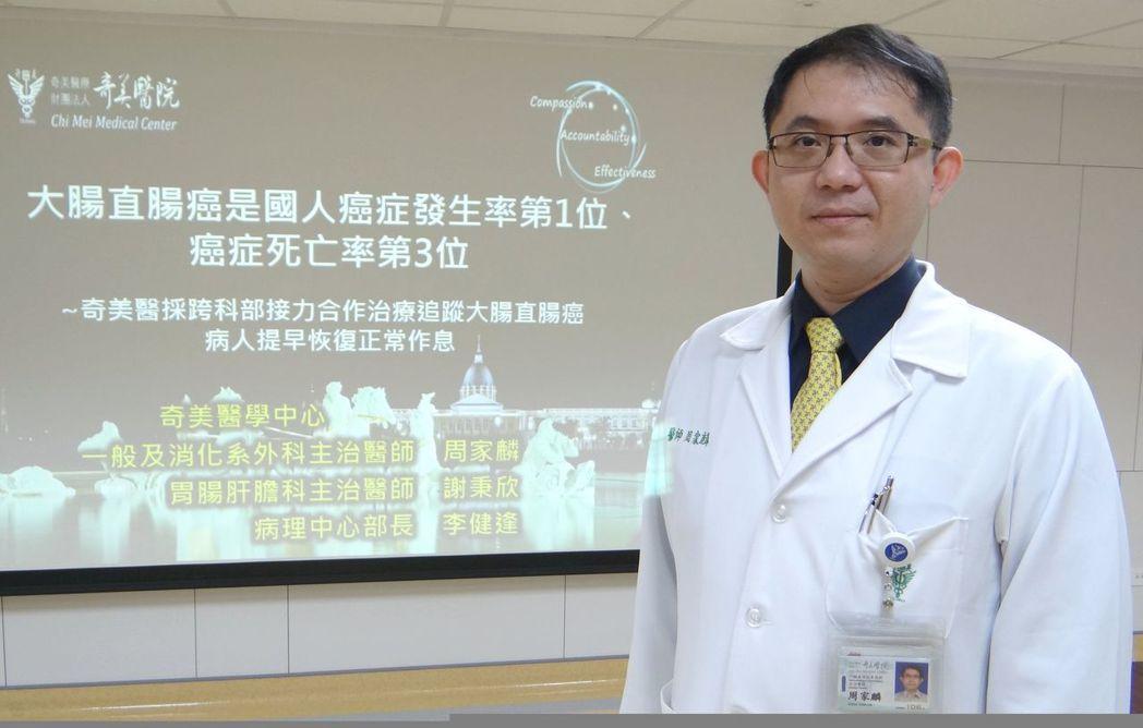 一般及消化系外科醫師周家麟表示,可利用大腸支架手術,如同「打通隧道」般,讓腫瘤不...