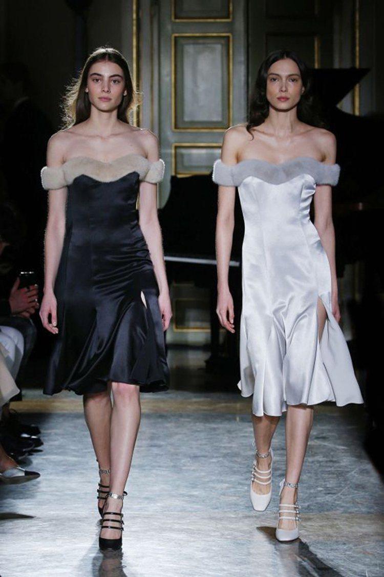 絲綢露肩小洋裝配皮草的設計讓瑞莎愛不釋手。圖/Blumarine提供