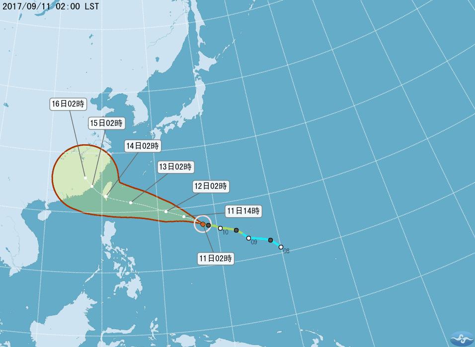 泰利颱風路徑。中央氣象局