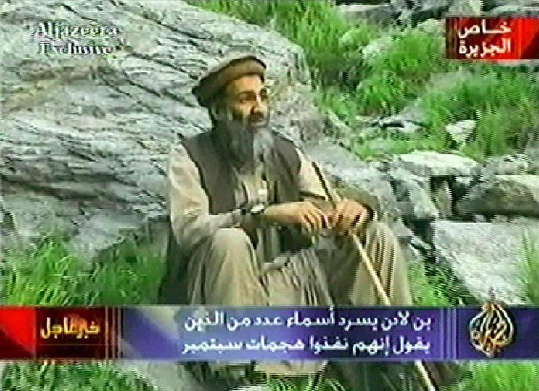 2003年9月10日,半島獨家播出賓拉登在「不明山區」的宣傳影帶。 圖/截自半島...