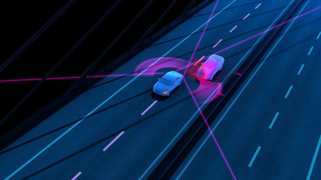 BLIS 駕駛視覺盲點資訊系統含轉向輔助建立於既有盲點偵測系統基礎上,結合主動轉向輔助功能,當後方有來車於盲區逼近、駕駛未察覺欲進行車道變換時,系統將主動介入將車輛導正回原車道。 圖/國際富豪汽車提供