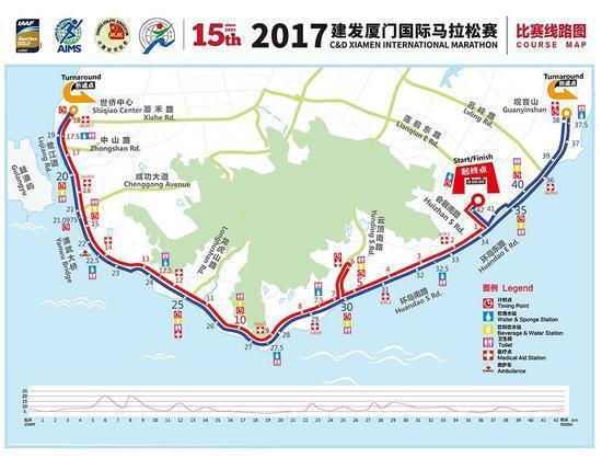 2017年廈門國際馬拉松的比賽路線圖。新浪網