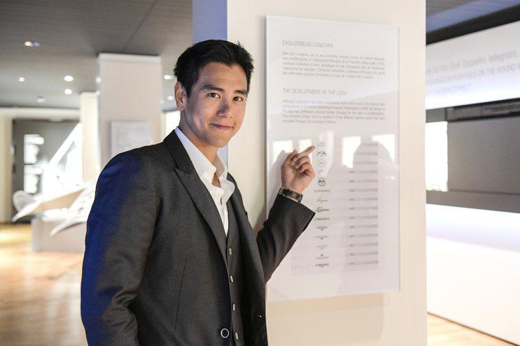 浪琴表優雅品牌大使彭于晏於9月9日參訪浪琴表博物館。圖/Longines提供