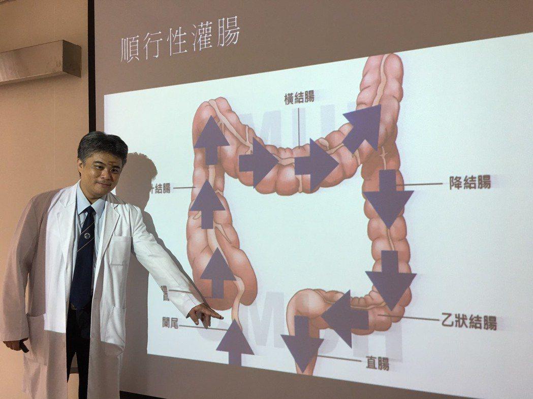 中山醫學大學附設醫院小兒外科主任謝明諭說,順行性灌腸是從大腸的起點(升結腸)放置...