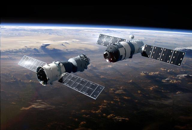天舟一號今日脫離天宮二號。圖擷自騰訊太空