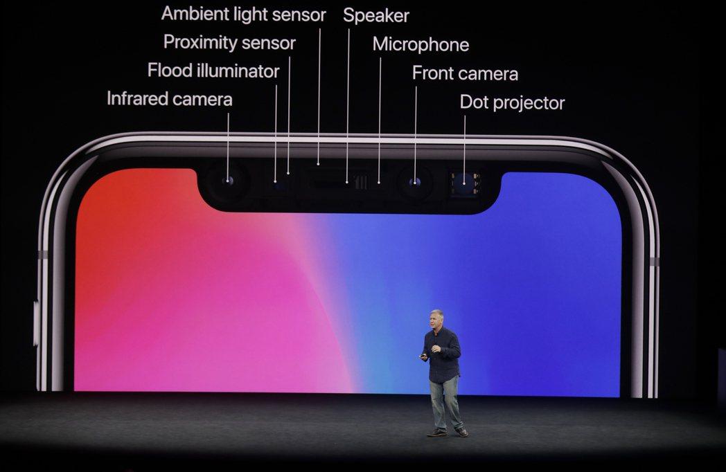 蘋果全球市場副總裁席勒介紹iPhone X的多重功能。左方上起為紅外線鏡頭、泛光...