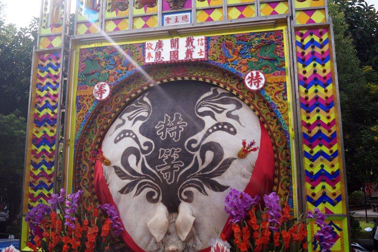 神豬文化時常被大眾與媒體誤解,圖為2017新埔義民祭實重1328斤的特等神豬。 ...