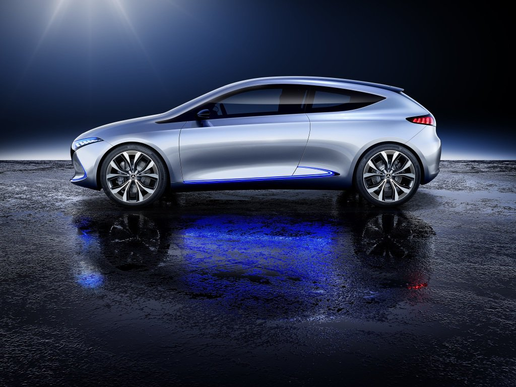 EQ A Concept具備四驅設定,擁有268hp最大馬力,續航力可達400公里。 圖片來源:M.Benz
