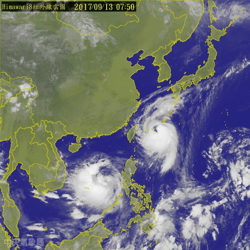中央氣象局上午8時30分持續發布中颱泰利的海警,中心位置在台北的東方約510公里...