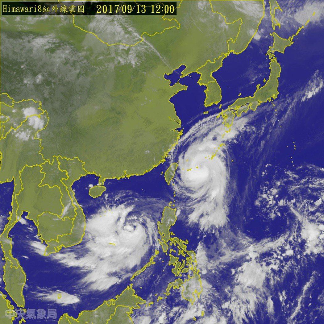 中央氣象局表示,泰利北轉過程速度變慢,影響北部降雨。圖/氣象局提供