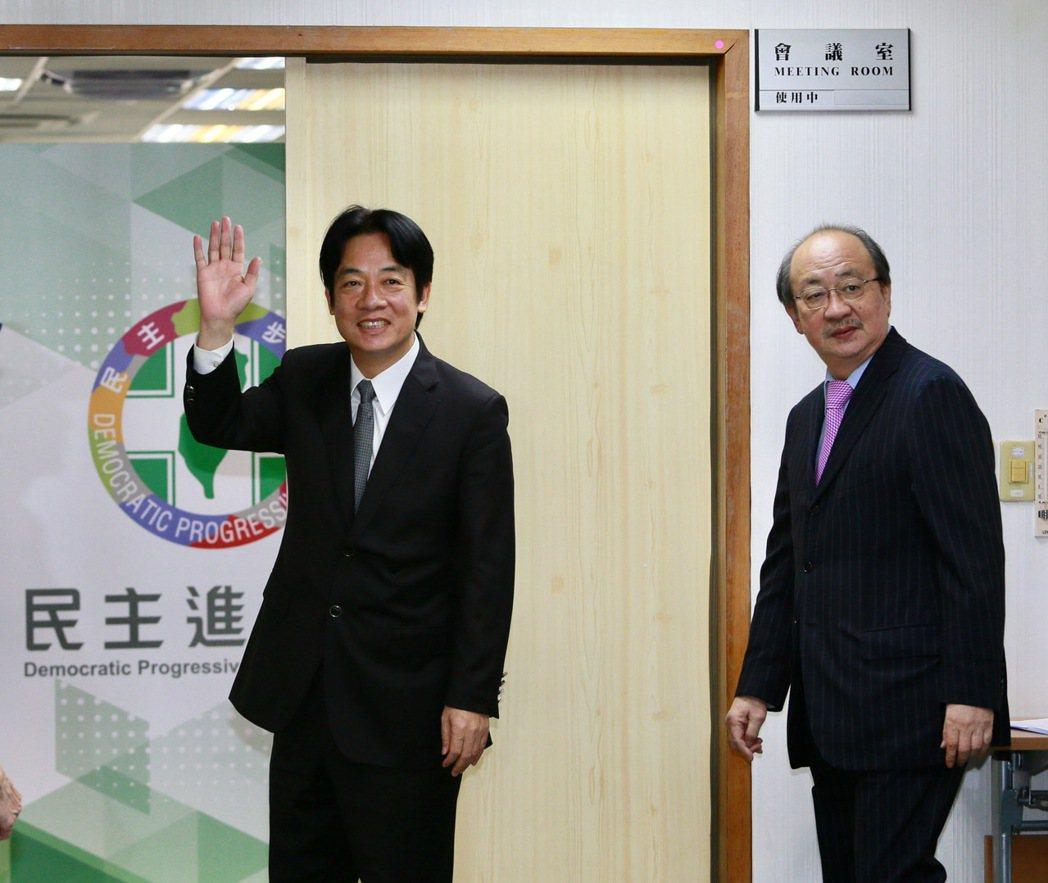 行政院長賴清德院長(左)出席民進黨中常會。記者陳柏亨/攝影
