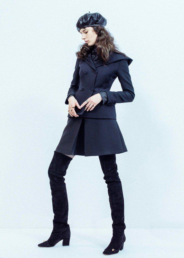 Dior 2017秋冬C'est Dior黑色麂皮長靴,售價51,000元。圖/...