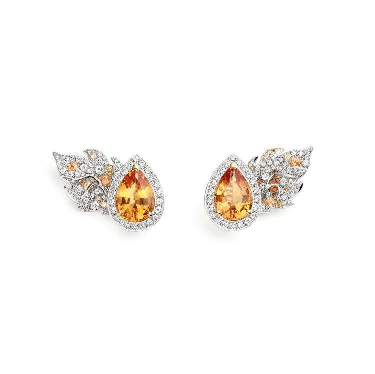 Rhapsodie Transatlantique耳環,18K白金和黃金鑲嵌兩顆...