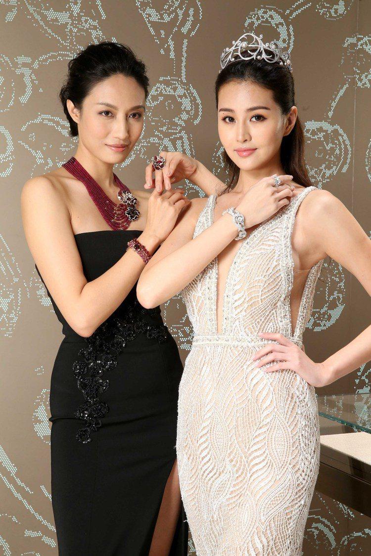 名模林葦茹(右)和邱馨慧演繹CHAUMET全新頂級珠寶系列作品。圖/CHAUME...