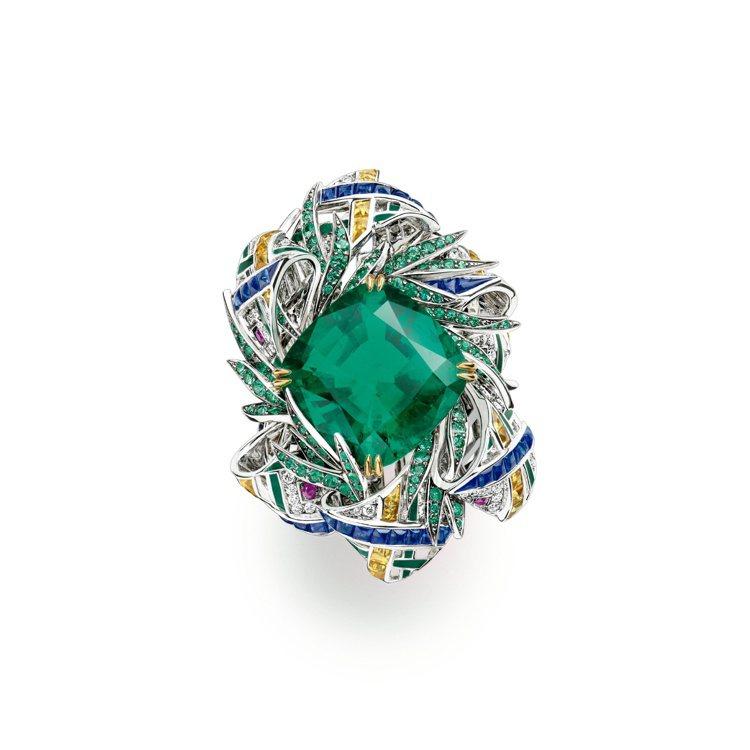 Pastorale Anglaise英國田園曲祖母綠戒指,18K白金、黃金鑲嵌一...