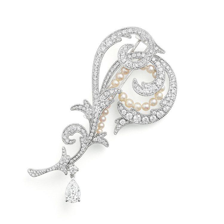 Valses dHiver冬季華爾滋白金胸針,18K白金鑲嵌鑽石,天然珍珠拆自品...