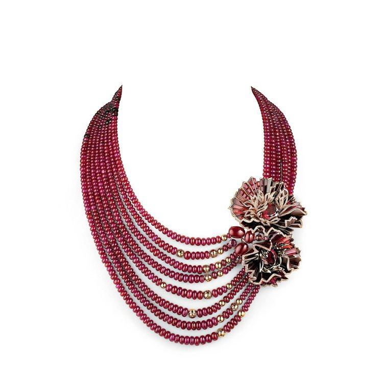 Aria Passionata可轉換項鍊,玫瑰金鑲嵌三顆橢圓形切割鐵鎂鋁石榴石(...