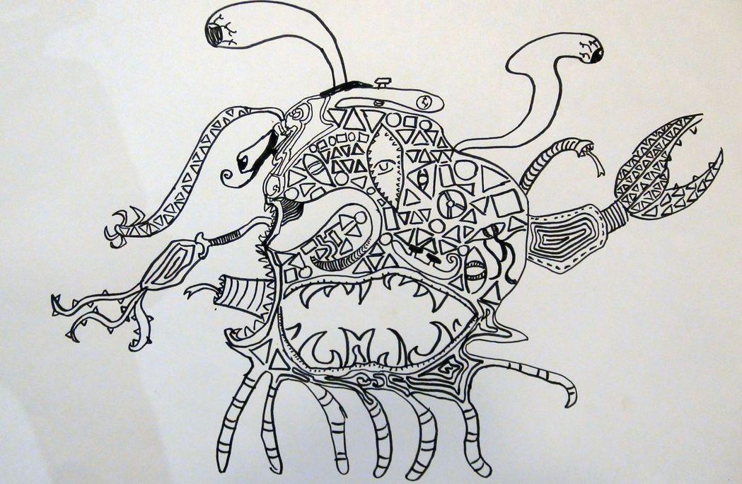 齜牙裂嘴的螃蟹,展現吳培瑋的異想世界。記者王昭月/攝影