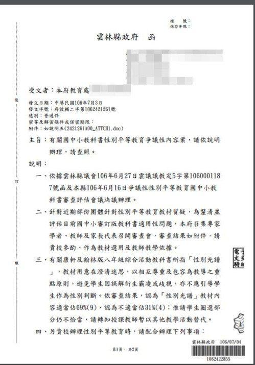 雲林縣政府一紙公文,限制全縣教師不得教授「多元性別意識」。記者林良齊/翻攝