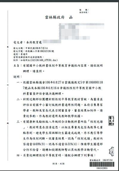 雲林縣政府發函要求去除「性別光譜」中的學生圈選部分,並排除多元性別意識教材。 報...